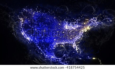 North American Night Map - Grunge Painting Illustration (Reference elements of this image furnished by NASA)
