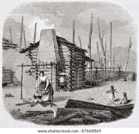 North-American pioneers hut, old illustration. Created by Saint-Aulaire, published on Magasin Pittoresque, Paris, 1844 - stock photo