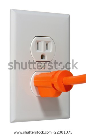 North American standard 110 volt electric wall outlet receptacle with plug inserted - stock photo