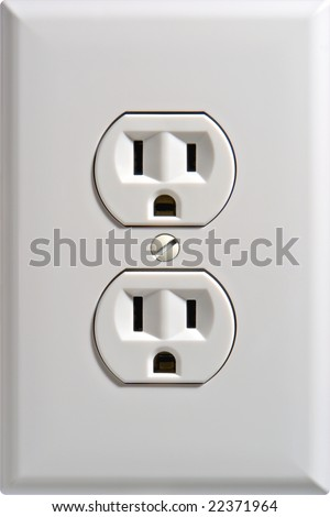 North American standard 110 volt electric wall power outlet socket plug receptacle with ground and polarized electrical prong insert - stock photo
