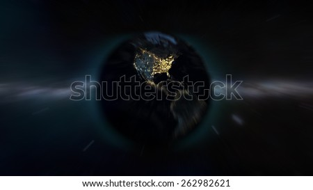 North American Zoom (Elements of this image furnished by NASA) - stock photo