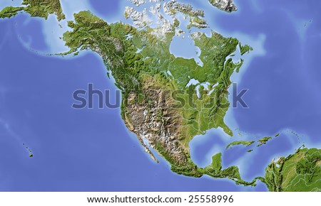 North and Central America. Shaded relief map, with major urban areas. Colored according to vegetation. Includes a clip path for the land area. - stock photo