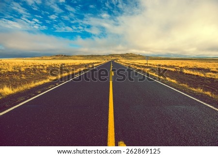 North Arizona Road to Meteor Crater. Arizona, United States.