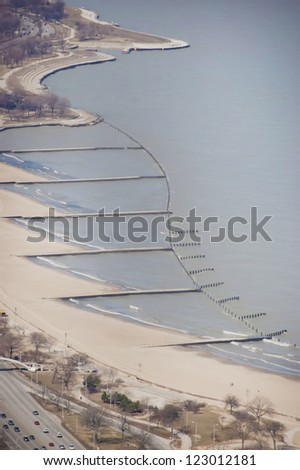 North Avenue Beach in Chicago, Illinois during the wintertime - stock photo
