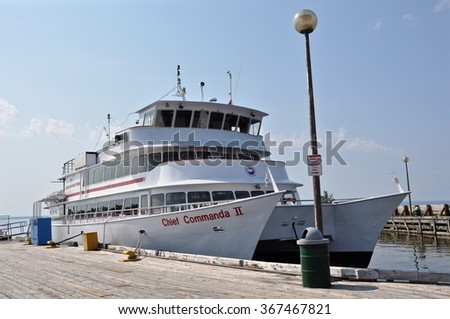 North Bay, Ontario, Canada - August 16, 2015: Chief Commanda ship docked in North Bay's waterfront. - stock photo