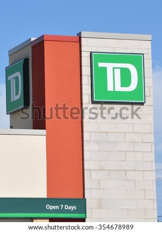 North Bay, Ontario, Canada - August 1, 2015: Signage of TD bank in front of the building.