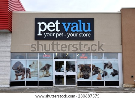 North Bay, Ontario, Canada - November 11, 2014: Sign of Pet Valu company in front of their North Bay store. - stock photo