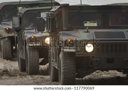 NORTH BEACH,NJ-NOVEMBER 2: The NJ National Guard arrives to  lead a damage assessment team to tour the devastation left by Hurricane Sandy on the oceanfront of Long Beach Island. Nov 2 2012, Long Beach Island, NJ - stock photo