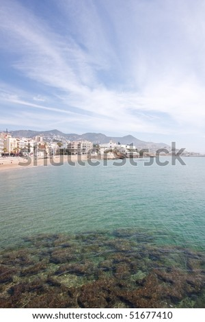 North beach of the coastal village of Sitges. - stock photo