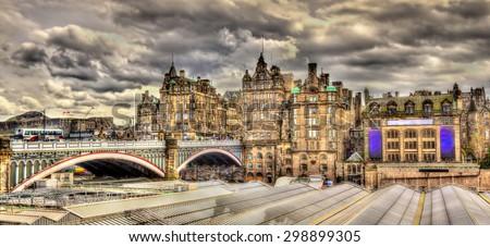 North Bridge above Waverley Station in Edinburgh, Scotland - stock photo