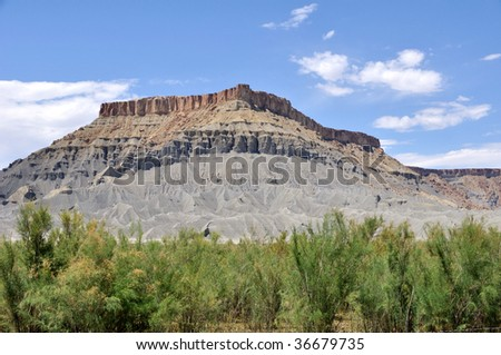 North Caineville Butte - Utah Desert - stock photo