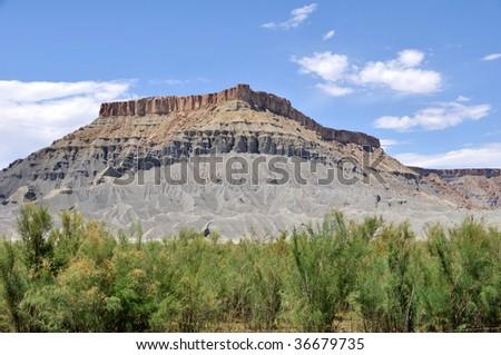 North Caineville Butte - Utah Desert - stock photo