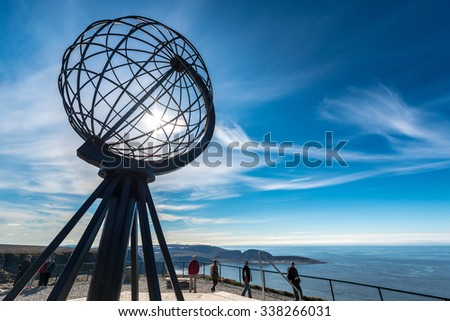 NORTH CAPE, NORWAY - JUNE 30, 2014: People visiting North Cape (Nordkapp), on the northern coast of the island of Mageroya in Finnmark, Northern Norway. - stock photo