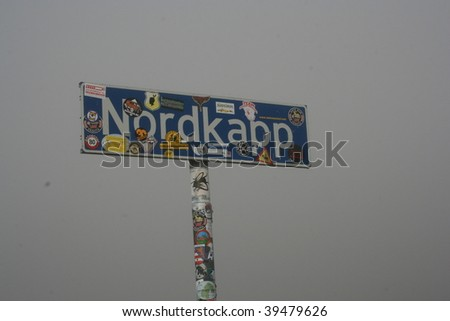 North cape sign, nordkapp, norway - stock photo