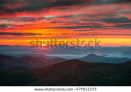 North Carolina Blue Ridge Parkway Autumn Sunrise Blue Ridge Mountains in western NC just south of Asheville, NC