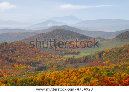 North Carolina Highlands in Autumn with Grandfather Mountain in the Background - stock photo
