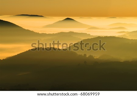 North Carolina Mountains on a Misty Morning Horizontal With Copy Space - stock photo