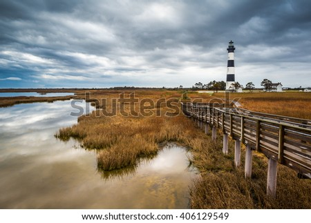 North Carolina Outer Banks Scenic Landscape Bodie Island Lighthouse near the Cape Hatteras National Seashore just south of Nags Head NC
