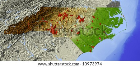 North Carolina. Shaded relief map.  Shows major urban areas and water bodies, surrounding territory greyed out.  Colored according to relative elevation. Includes clipping path for state area. - stock photo