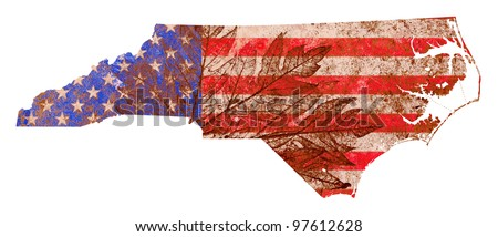 North Carolina state of the United States of America in grunge flag pattern isolated on white background - stock photo