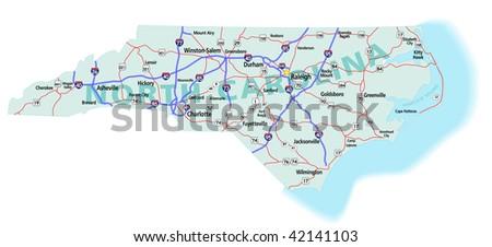 North Carolina State Road Map Interstates Stock Vector - North carolina us map