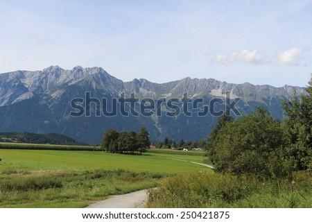 North Chain Mountains (Nordkette) of Austrian Alps in Innsbruck, Austria - stock photo
