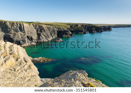 North coast of Cornwall with clear blue sea between Treyarnon and Porthcothan in summer from the south west coastal path