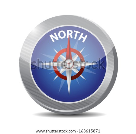north compass illustration design over a white background - stock photo