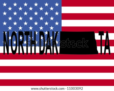 North Dakota text with map on American flag illustration JPEG