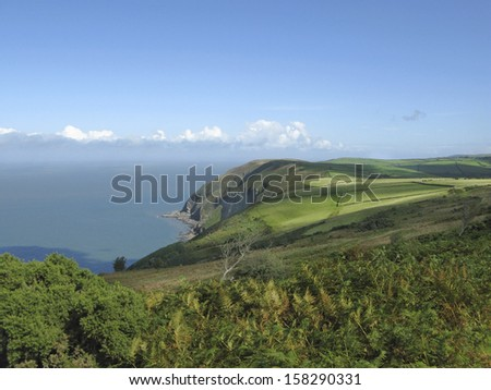 North Devon Cliffs and sea England - stock photo