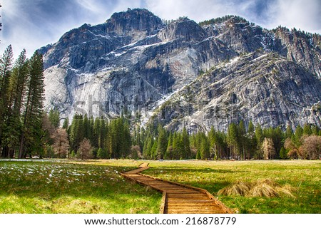 North Dome as seen from the valley floor. Yosemite National Park, California. - stock photo