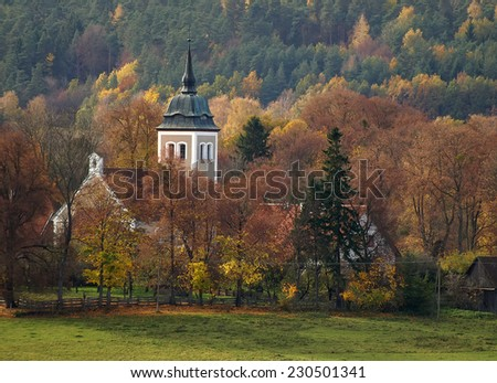 North East Poland landscape with small church in village