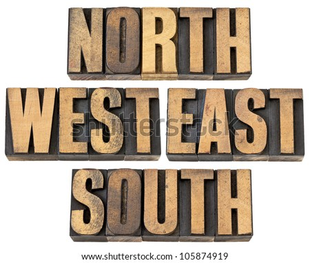 north, east, south, west - isolated text in vintage letterpress wood type