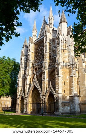 North Entrance of Westminster Abbey in London - stock photo