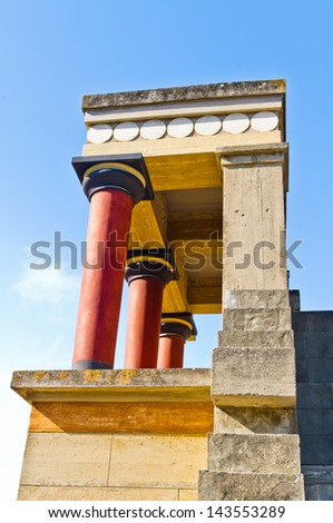 North Entrance to the Palace of Knossos decorated with bull fresco. It is located at the end of the road from the harbor. - stock photo