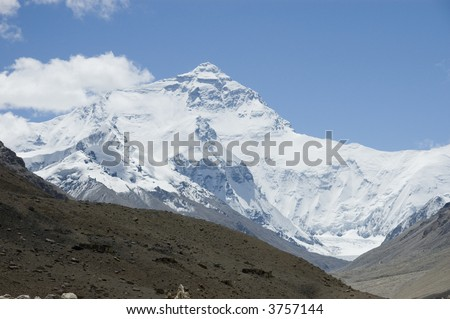North face of Mount Everest from Rongphu Monastery, Tibet, China - stock photo