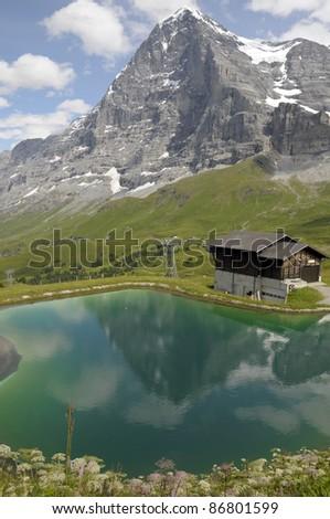 North Face of the Eiger above Kleine Scheidegg - stock photo