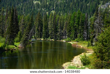 North fork of the Payette River as it heads into Payette Lake, McCall Idaho - stock photo