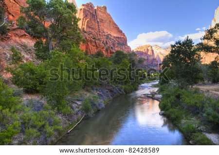 North Fork Virgin River as seen from Emeral Pool trail - stock photo