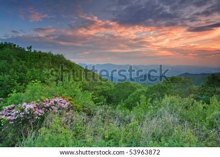 North Georgia Mountains , brasstown bald sunset - stock photo