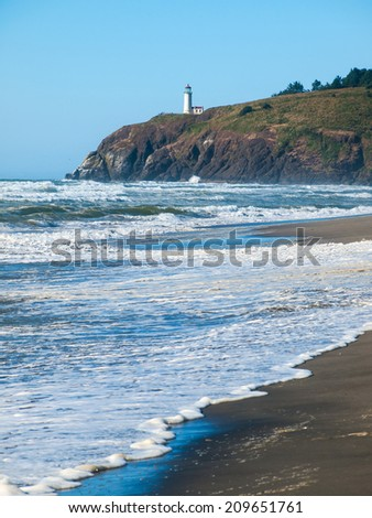North Head Lighthouse in Viewed from Benson Beach on the Washington Coast USA - stock photo