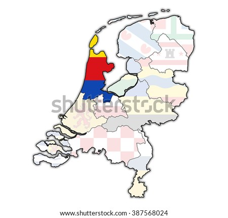 North Holland Flag On Map Borders Stock Illustration 387568024