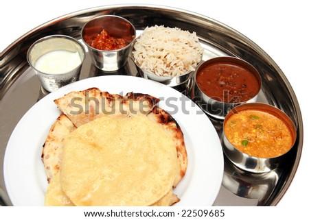 North Indian Thali - stock photo