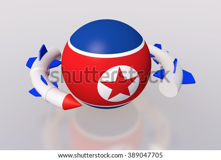 North Korea and missile Korea and the missile North - stock photo