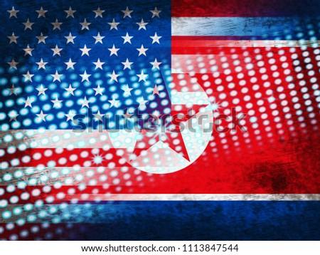 North Korea Usa Agreement Flag 3 D Stock Illustration 1113847544