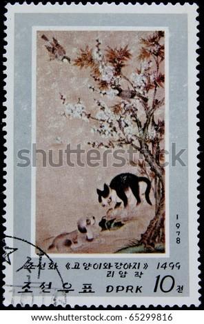 NORTH KOREA - CIRCA 1978: A post stamp printed in North Korea shows a scene from a Korean tale, series, circa 1978 - stock photo