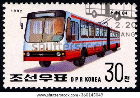NORTH KOREA - CIRCA 1992: A stamp printed in DPR Korea dedicated to International stamp festival - Essen shows Trolleybus, circa 1992 - stock photo