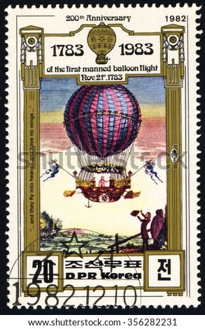 NORTH KOREA - CIRCA 1982: A stamp printed in DPR Korea dedicated to 200th Year Of The First Manned Balloon Flight Air Transports series, circa 1982 - stock photo