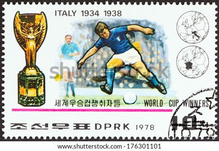 "NORTH KOREA - CIRCA 1978: A stamp printed in North Korea from the ""World Cup Football Championship Winners "" issue shows Italy, 1934, 1938, circa 1978.  - stock photo"