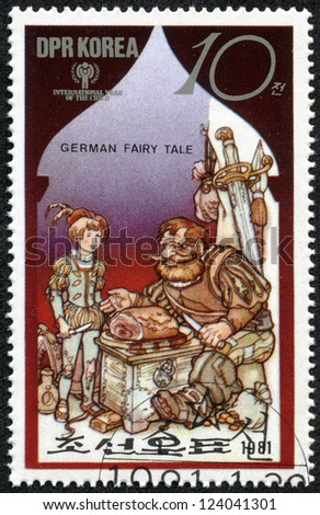 NORTH KOREA - CIRCA 1981: A stamp printed in North Korea shows a scene from a German fairy tale, series, circa 1981 - stock photo
